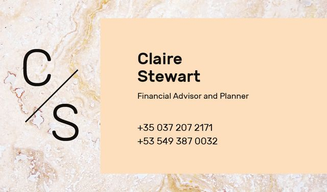 Template di design Financial Advisor Contacts Marble Light Texture Business card