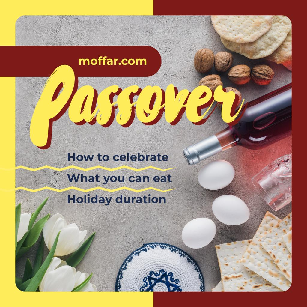 Happy Passover holiday Instagram Design Template