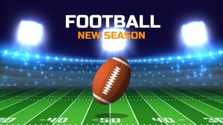 Plantilla de diseño de Football Season Announcement with Rugby Ball on Field Full HD video