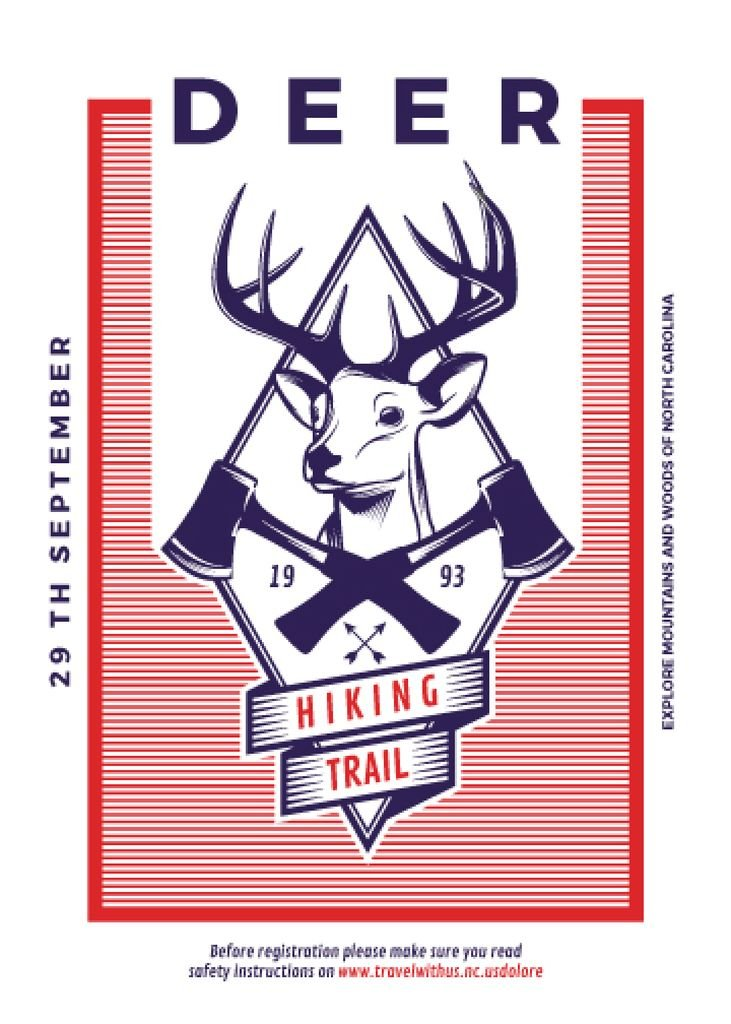 Hiking trail advertisement with deer — Créer un visuel