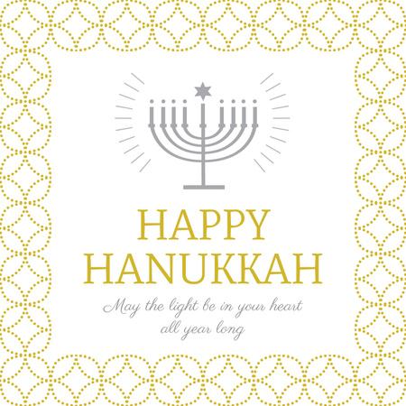 Designvorlage Happy Hanukkah Greeting with Menorah für Instagram AD