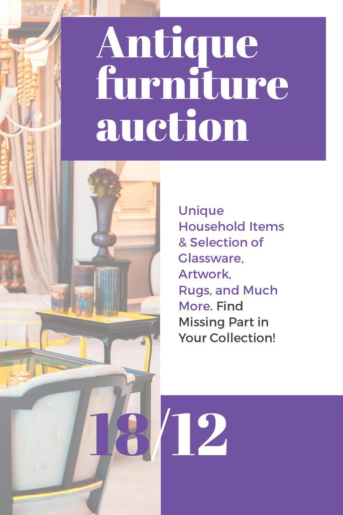 Antique Furniture Auction Vintage Wooden Pieces — ein Design erstellen