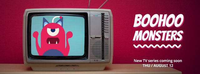 Vintage Tv with cartoon monster Facebook Video cover – шаблон для дизайна