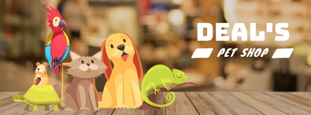 Cute funny pets in shop — Modelo de projeto
