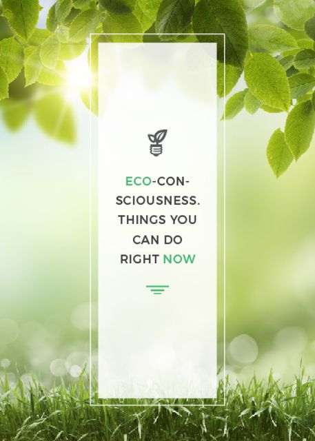 Eco Quote Light Bulb with Leaves Flayer Tasarım Şablonu