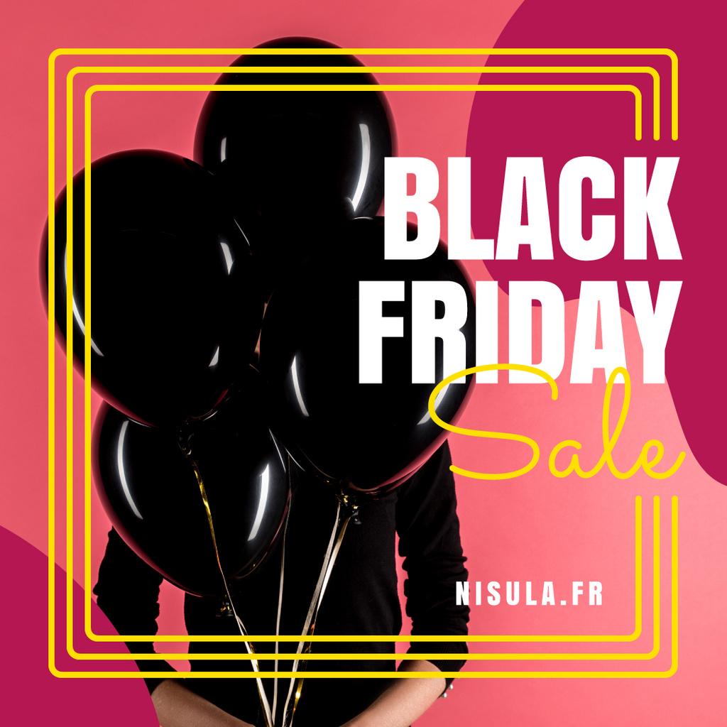 Black Friday Sale Woman Holding Balloons - Bir Tasarım Oluşturun
