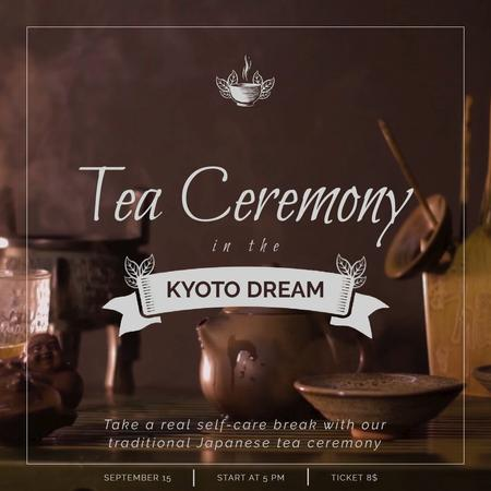 Japanese Tea Ceremony with Pot and Ceramics Animated Post Modelo de Design