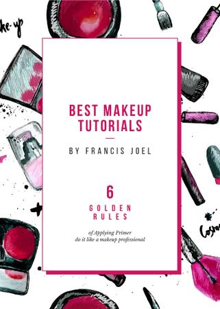 Cosmetics composition for Makeup tutorials Invitation Modelo de Design