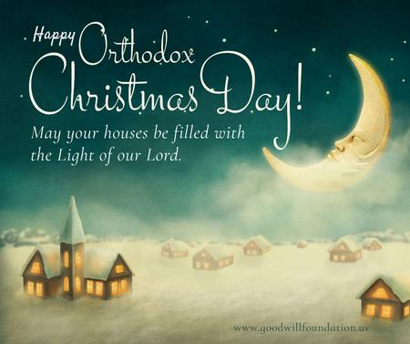 Orthodox Christmas greeting with moon in sky Facebook Modelo de Design