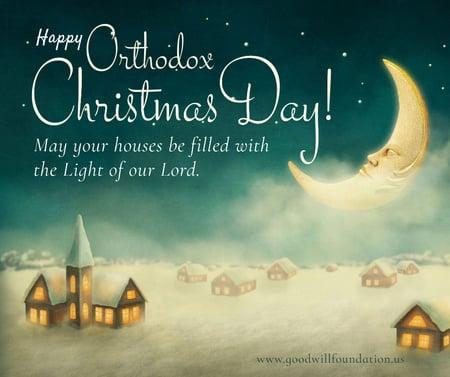 Plantilla de diseño de Orthodox Christmas greeting with moon in sky Facebook