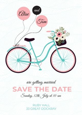 Ontwerpsjabloon van Flayer van Save the Date with Bicycle and Flowers