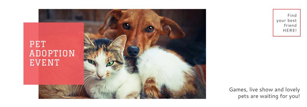 Pet Adoption Event Dog and Cat Hugging — Modelo de projeto