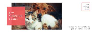 Pet Adoption Event Dog and Cat Hugging | Tumblr Banner Template