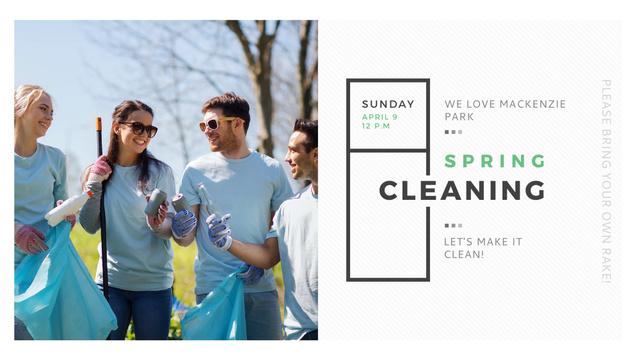 Ontwerpsjabloon van FB event cover van Ecological Event Volunteers Collecting Garbage