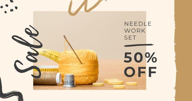 Needlework Set Special Offer Facebook AD Tasarım Şablonu