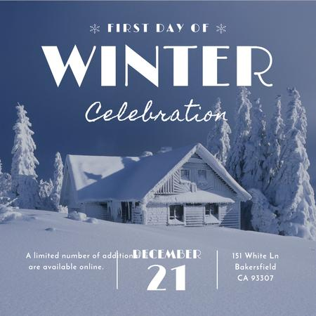 Plantilla de diseño de First day of winter celebration with House in Snowy Forest Instagram