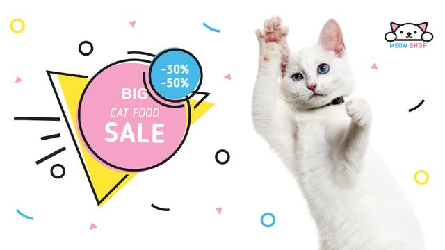 Cat Food Offer Jumping White Cat Full HD video Design Template