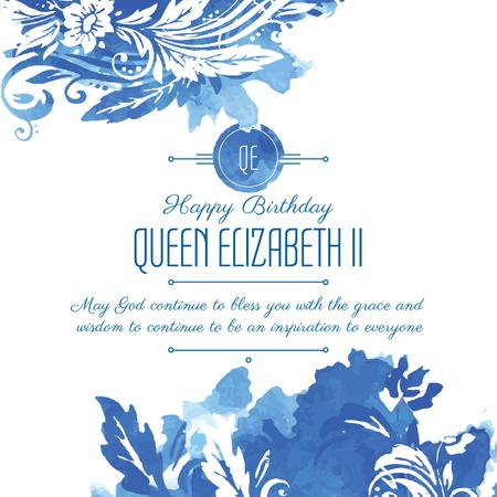 Queen's Birthday greeting in floral frame Instagram AD Tasarım Şablonu