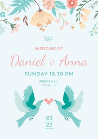 Szablon projektu Wedding Invitation with Loving Birds and Flowers Poster