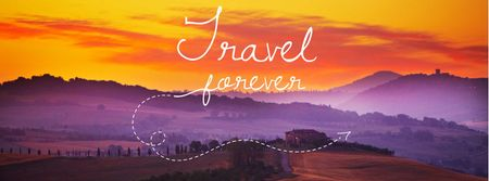 Plantilla de diseño de Motivational travel quote with Majestic sunset Facebook cover