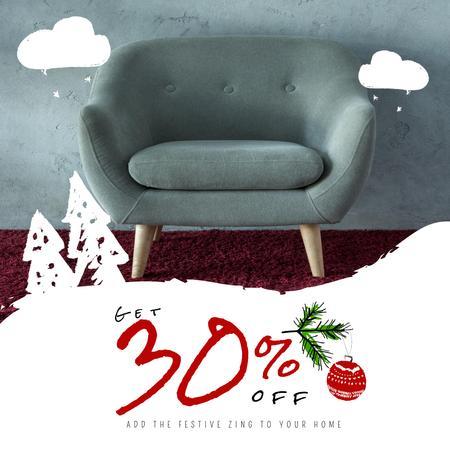 Plantilla de diseño de Furniture Christmas Sale with Armchair in Grey Animated Post
