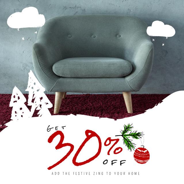 Furniture Christmas Sale with Armchair in Grey Animated Post Tasarım Şablonu