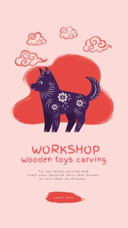 Toys Carving Workshop Dog and Pig Figures Instagram Video Story Modelo de Design