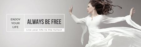 Plantilla de diseño de Inspiration Quote with Woman Dancer Jumping Email header