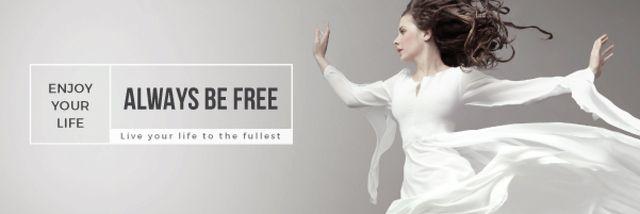Modèle de visuel Inspiration Quote with Woman Dancer Jumping - Email header