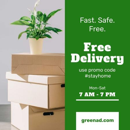 #StayHome Delivery Services offer with boxes and plant Instagram Tasarım Şablonu