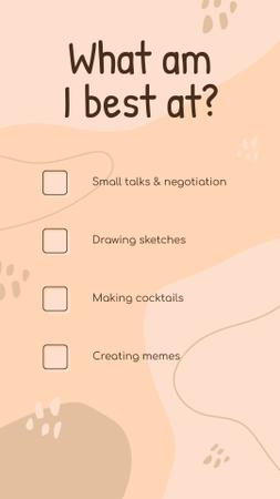 Template di design Profile about What am I best at Instagram Story