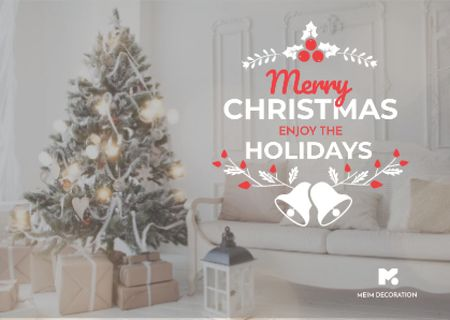 Plantilla de diseño de Merry Christmas Greeting with Decorated Tree in Room Postcard