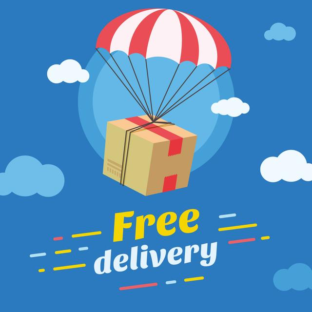 Delivery offer Parcel flying on parachute Instagram AD Tasarım Şablonu