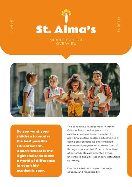 Midle School Overview with Happy Pupils Newsletter Design Template