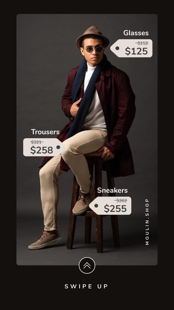 Fashion Sale Stylish Man in Hat and Sunglasses — Maak een ontwerp