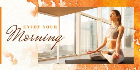 Template di design Woman doing yoga in the morning Twitter