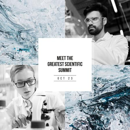 Scientific Conference Announcement People in Lab Instagram ADデザインテンプレート