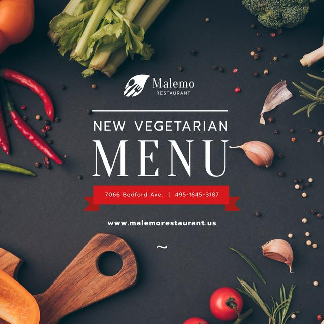 Plantilla de diseño de Vegetarian Menu Offer Fresh Vegetables and Condiments Instagram
