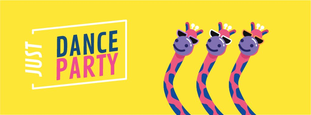 Dancing Pink Giraffes at Party | Facebook Video Cover Template — Créer un visuel