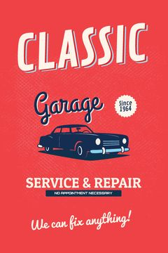 Garage Services Ad Vintage Car in Red | Tumblr Graphics Template