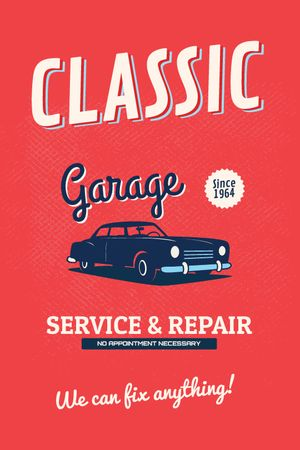 Garage Services Ad Vintage Car in Red Tumblrデザインテンプレート