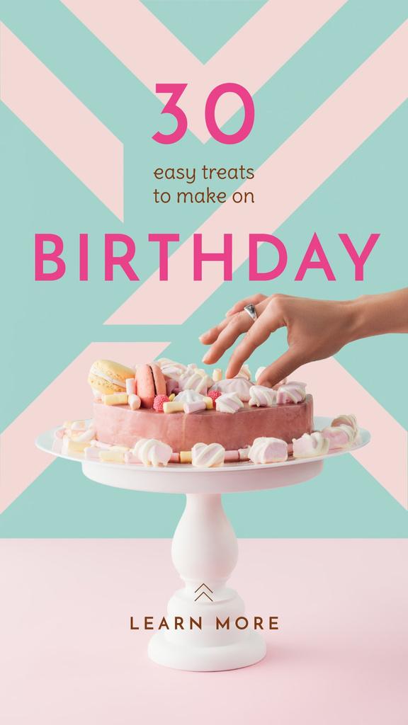 Woman decorating pink Birthday Cake Instagram Story Modelo de Design