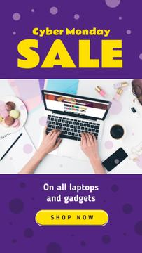 Cyber Monday Sale Woman Typing on Laptop