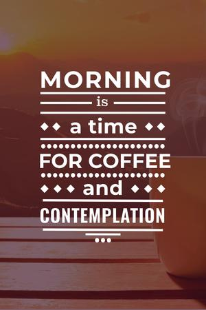 Inspirational quote with cup of coffee on wooden table Pinterestデザインテンプレート