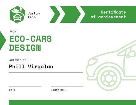 Achievement in Eco Cars design in green Certificateデザインテンプレート