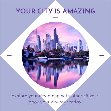 Template di design View of Big City in Circle Frame Instagram