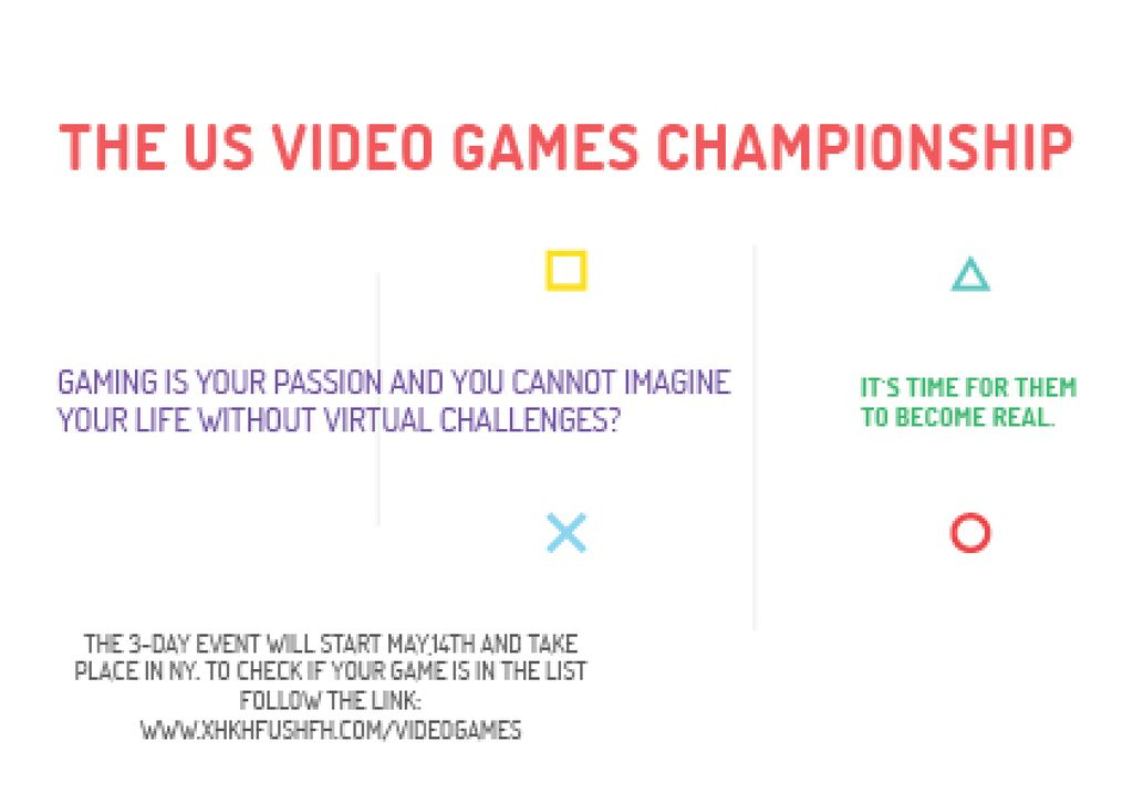 Video Games Championship announcement Postcard Design Template
