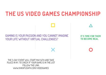 Video Games Championship announcement Postcard – шаблон для дизайна