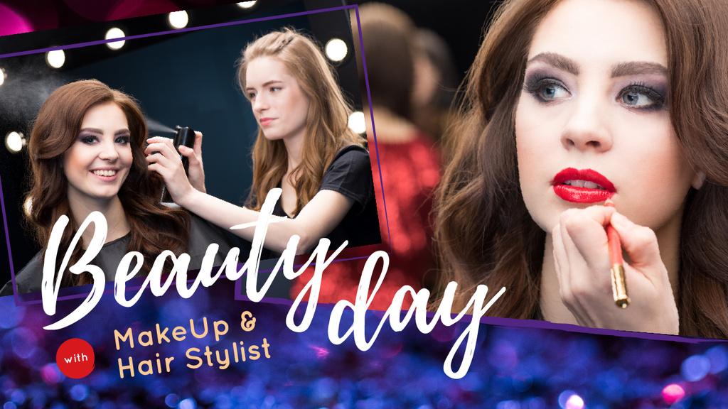Makeup Tips Woman Applying Makeup — Crea un design