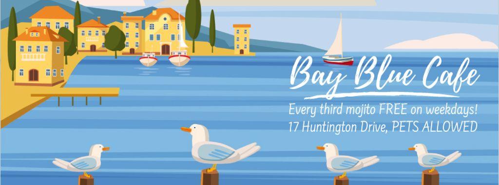 Seagulls at pier in Mediterranean town — Створити дизайн